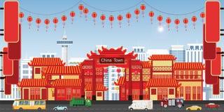 Ευτυχής κινεζική νέα ευχετήρια κάρτα έτους με το πόλης χωριό της Κίνας ελεύθερη απεικόνιση δικαιώματος