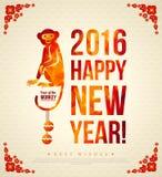 Ευτυχής κινεζική νέα ευχετήρια κάρτα έτους 2016 με Στοκ εικόνες με δικαίωμα ελεύθερης χρήσης