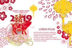 Ευτυχής κινεζική νέα κάρτα έτους 2019 με το χοίρο Κινεζικός χοίρος μεταφράσεων στοκ φωτογραφίες