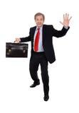 ευτυχής κυματισμός επιχειρηματιών στοκ εικόνες