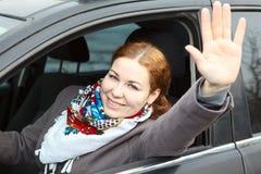 ευτυχής κυρία οδηγών Στοκ φωτογραφίες με δικαίωμα ελεύθερης χρήσης