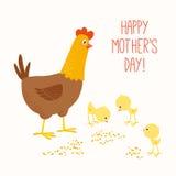 Ευτυχής κότα μητέρων με τους νεοσσούς μωρών διανυσματική απεικόνιση
