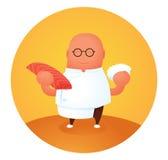 Ευτυχής κύριος αρχιμάγειρας σουσιών με το φρέσκους σολομό και το ρύζι Στοκ φωτογραφία με δικαίωμα ελεύθερης χρήσης