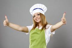 Ευτυχής κύριος μάγειρας που δίνει δύο αντίχειρες επάνω Στοκ φωτογραφίες με δικαίωμα ελεύθερης χρήσης