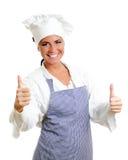 Ευτυχής κύριος μάγειρας που δίνει δύο αντίχειρες επάνω. Στοκ Εικόνες