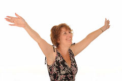 Ευτυχής μέση ηλικίας γυναίκα Στοκ εικόνες με δικαίωμα ελεύθερης χρήσης