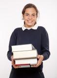 Ευτυχής μαθήτρια με τις βαριές εντάσεις του ήχου Στοκ εικόνα με δικαίωμα ελεύθερης χρήσης