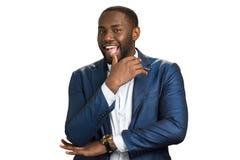 Ευτυχής μαύρος επιχειρηματίας, άσπρο υπόβαθρο Στοκ φωτογραφία με δικαίωμα ελεύθερης χρήσης