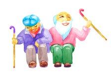 Ευτυχής μεγάλη ηλικία ouple οι πρεσβύτεροι ï ¿ ½ με ένα ραβδί περπατήματος κάθονται το γέλιο και χαμόγελο στο ύφος watercolor που διανυσματική απεικόνιση