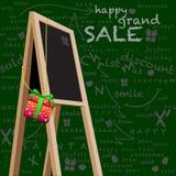 Ευτυχής μεγάλη πώληση πινάκων κιμωλίας πίσω πτώσης storefront Στοκ Εικόνα