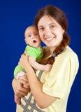 ευτυχής μητέρα μήνα 3 μωρών Στοκ φωτογραφία με δικαίωμα ελεύθερης χρήσης