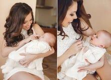 ευτυχής μητέρα μωρών νεογέννητη Στοκ Φωτογραφίες