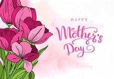 ευτυχής μητέρα s ημέρας Ευχετήρια κάρτα με την ημέρα μητέρων ` s λεπτομερές ανασκόπηση floral διάνυσμα σχεδίων επίσης corel σύρετ διανυσματική απεικόνιση
