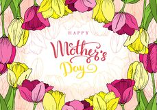 ευτυχής μητέρα s ημέρας Ευχετήρια κάρτα με την ημέρα μητέρων ` s λεπτομερές ανασκόπηση floral διάνυσμα σχεδίων απεικόνιση αποθεμάτων
