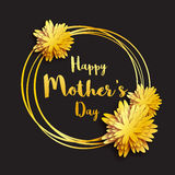 ευτυχής μητέρα s ημέρας Χρυσή Floral ευχετήρια κάρτα φύλλων αλουμινίου γυναίκες ημέρας s διανυσματική απεικόνιση