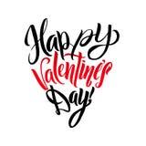 Ευτυχής μορφή καρδιών ευχετήριων καρτών εγγραφής ημέρας βαλεντίνων Καλλιγραφικό πρότυπο Στοκ εικόνα με δικαίωμα ελεύθερης χρήσης