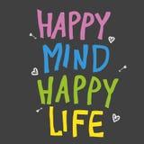 Ευτυχής μυαλού ευτυχής απεικόνιση λέξης ζωής ζωηρόχρωμη διανυσματική απεικόνιση