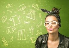 Ευτυχής νέα γυναίκα με τα γυαλιά και τα εικονίδια περιστασιακών ενδυμάτων Στοκ εικόνα με δικαίωμα ελεύθερης χρήσης