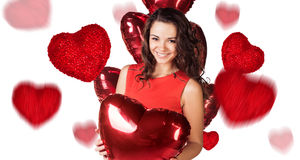 4dbbd90314f Ευτυχής νέα γυναίκα με το κόκκινο κιβώτιο καρδιών στοκ εικόνα με δικαίωμα  ελεύθερης χρήσης