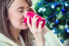 Ευτυχής νέα γυναίκα που έχει ένα φλυτζάνι της καυτής σοκολάτας με marshmallow στοκ φωτογραφία