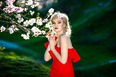 Ευτυχής νέα γυναίκα σε έναν ανθίζοντας κήπο άνοιξη Ο χρόνος άνοιξη… αυξήθηκε φύλλα, φυσική ανασκόπηση Άνθη λουλουδιών Στοκ Εικόνα