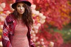 Ευτυχής νέα γυναίκα στο πάρκο την ηλιόλουστη ημέρα φθινοπώρου Εύθυμο beautifu Στοκ φωτογραφίες με δικαίωμα ελεύθερης χρήσης