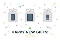 Ευτυχής νέα κάρτα Χριστουγέννων δώρων με τη συσκευή μέσα Στοκ Εικόνες
