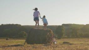 Ευτυχής νέα μητέρα με λίγο παιχνίδι σκιαγραφιών κορών στο σωρό αχύρου στο ηλιοβασίλεμα, καλές στιγμές απόθεμα βίντεο