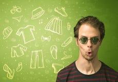 Ευτυχής νεαρός άνδρας με τα γυαλιά και τα εικονίδια περιστασιακών ενδυμάτων Στοκ Εικόνες