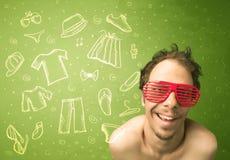 Ευτυχής νεαρός άνδρας με τα γυαλιά και τα εικονίδια περιστασιακών ενδυμάτων Στοκ φωτογραφίες με δικαίωμα ελεύθερης χρήσης