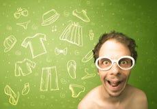 Ευτυχής νεαρός άνδρας με τα γυαλιά και τα εικονίδια περιστασιακών ενδυμάτων Στοκ Εικόνα
