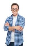 Ευτυχής νεαρός άνδρας με τα γυαλιά Στοκ εικόνες με δικαίωμα ελεύθερης χρήσης