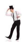Ευτυχής νεαρός άνδρας που φορά το τοπ καπέλο. Στοκ φωτογραφίες με δικαίωμα ελεύθερης χρήσης