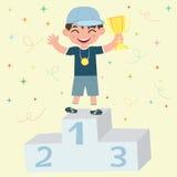 ευτυχής νικητής βραβείο&up διανυσματική απεικόνιση