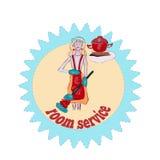 Ευτυχής νοικοκυρά, λογότυπο υπηρεσιών δωματίων, χαριτωμένο ξανθό κορίτσι απεικόνιση αποθεμάτων
