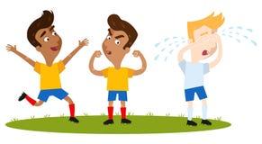 Ευτυχής νότος νίκης - αμερικανικοί outfield κινούμενων σχεδίων φορείς στα κίτρινα πουκάμισα και τα μπλε σορτς που γιορτάζουν, καυ ελεύθερη απεικόνιση δικαιώματος