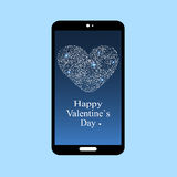 Ευτυχής οθόνη app smartphone ημέρας βαλεντίνων Στοκ Φωτογραφία
