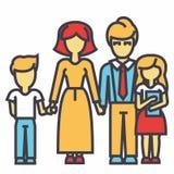 Ευτυχής οικογένεια - γιος, μητέρα, πατέρας, έννοια κορών διανυσματική απεικόνιση