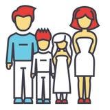 Ευτυχής οικογένεια, γονείς με τα παιδιά, πατέρας, μητέρα, γιος, έννοια κορών ελεύθερη απεικόνιση δικαιώματος
