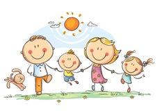 Ευτυχής οικογένεια με δύο παιδιά που έχουν τη διασκέδαση που τρέχει υπαίθρια διανυσματική απεικόνιση