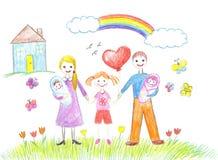 Ευτυχής οικογένεια με τα παιδιά και τα νήπια Στοκ εικόνα με δικαίωμα ελεύθερης χρήσης