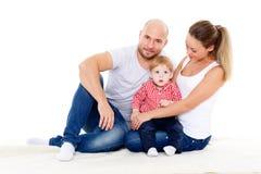 Ευτυχής οικογένεια με το μωρό Στοκ εικόνα με δικαίωμα ελεύθερης χρήσης