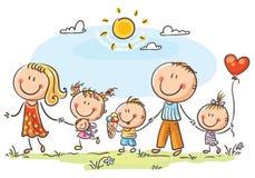 Ευτυχής οικογένεια με τρία παιδιά που περπατούν υπαίθρια διανυσματική απεικόνιση