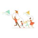 Ευτυχής οικογένεια με δύο παιδιά που έχουν τους πετώντας ικτίνους διασκέδασης, ζωηρόχρωμη διανυσματική απεικόνιση χαρακτήρα απεικόνιση αποθεμάτων
