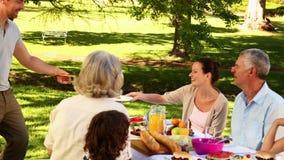 Ευτυχής οικογένεια που έχει μια σχάρα στο πάρκο από κοινού απόθεμα βίντεο