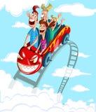 Ευτυχής οικογένεια που έχει το γύρο διασκέδασης ελεύθερη απεικόνιση δικαιώματος