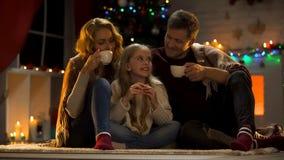 Ευτυχής οικογένεια που πίνει το καυτό κακάο με τα μπισκότα κοντά στο χριστουγεννιάτικο δέντρο, θαυμαστή ημέρα στοκ εικόνα με δικαίωμα ελεύθερης χρήσης