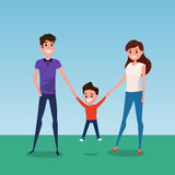 Ευτυχής οικογένεια που περπατούν μαζί και λαβή υπό εξέταση μητέρα και γιος πατέρων Επίπεδο ύφος σχεδίου Στοκ Εικόνες