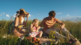 Ευτυχής οικογένεια που τρώει τον ανανά σε ένα πικ-νίκ απόθεμα βίντεο