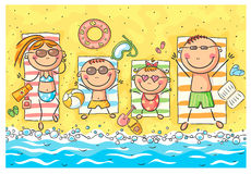 Ευτυχής οικογένεια στην παραλία διανυσματική απεικόνιση
